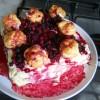 Torta millefoglie alla crema, frutti di bosco e bignè
