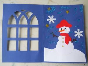 biglietto pupazzo di neve aperto