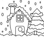 disegni natale casa con neve