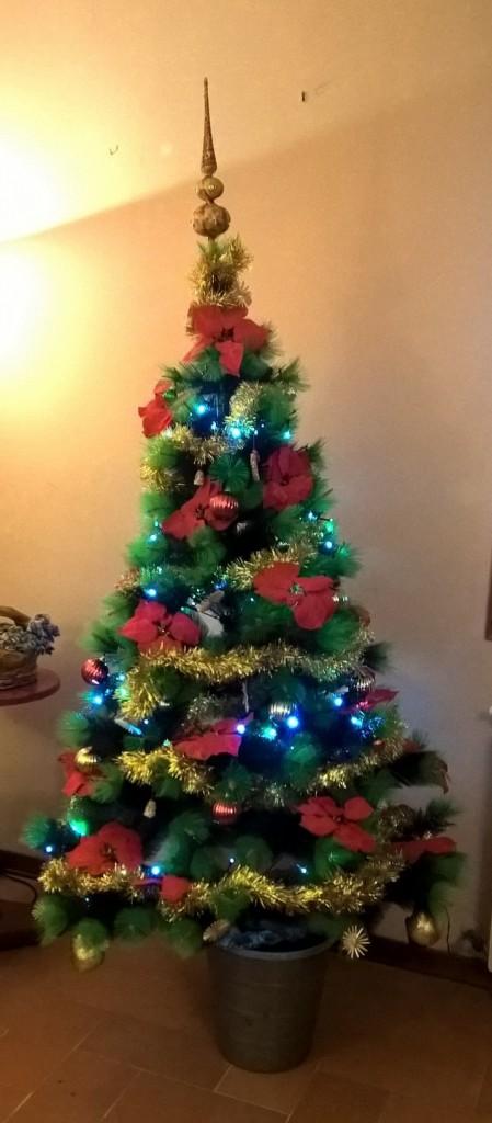 albero con stelle natalizie